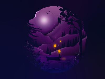 Night Girl balloons leaf mountain dark night dark tree forrest jungle moon night illustrated digitalpaintings illustrationart illustration-daily illustrationartists illustration illustrator vector girl design