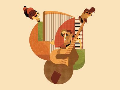 Music band pattern graphic design musician designer life music cover design illustration girl team music band man harp cello violin piano abstract vector illustrator music