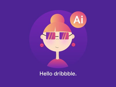 Hello Dribbble she vector illustrator hello dribbble hello girl first shot debut