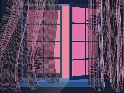 window vector illustrator leaf window open illustration curtain dribbble room designer pink tree light darkness night