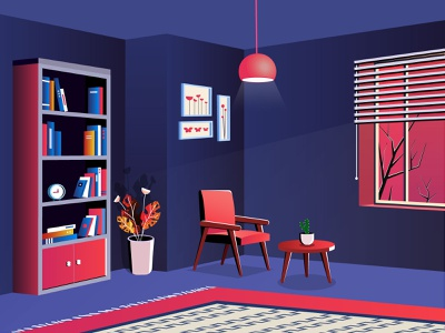 a better spot designer lamp room illustration shadow wall curtains darkness night light cactus chair vase window clock book library carpet flower leaf