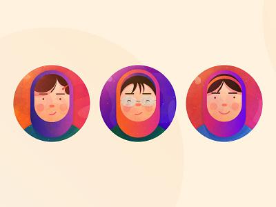 profile hair glasses islamic girl vector designer dribbble illustrator