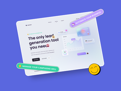 Lead Generation Service 3d landing dashboard design dashboard app dark theme dashboad