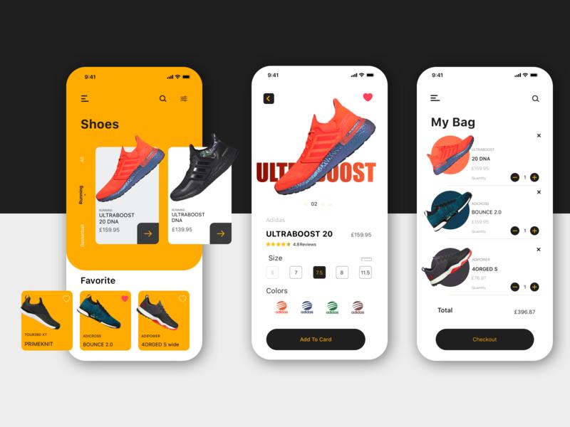 Adidas app concept minimalist sketches basketball running golf ultraboost adidas shoes iphone vector sketch app ux ui design