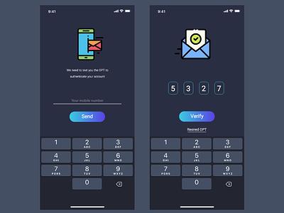 Verification Code sms mobile ui ios app code verification design ux ui adobe xd
