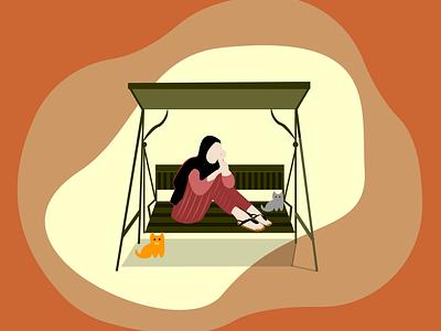 the girl with meow meow girl illustration girl orange illustration design