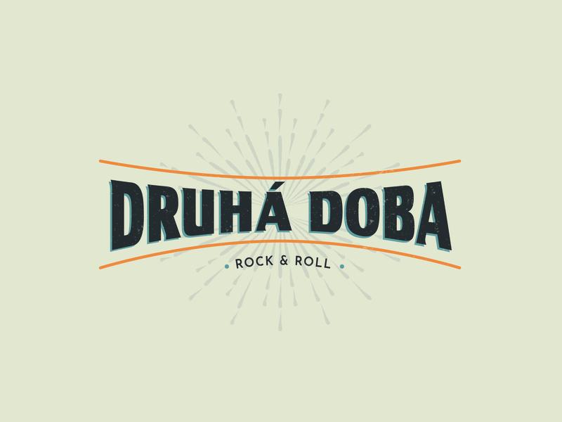 Druhá doba logo rock and roll logo vector illustration retro style retro font band