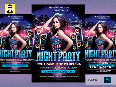 Night Girl Party Poster