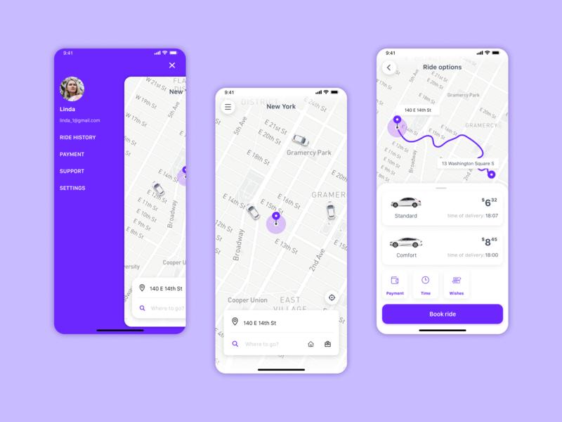 Taxi App taxi app ios mobile ux ui figma design