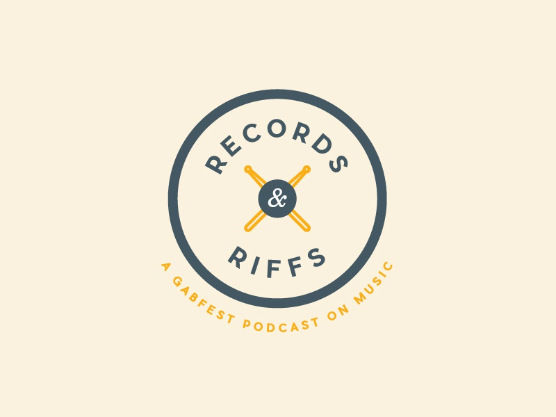 Records & Riffs riff record circular logo circle ampersand drums identity logo podcast music