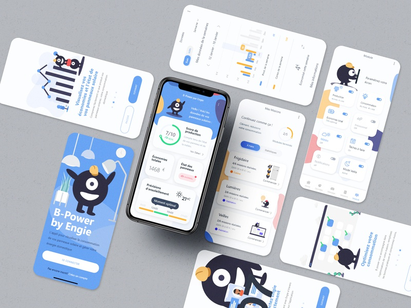 Bi-Power : Energy management app solar energy ui branding illustration flat