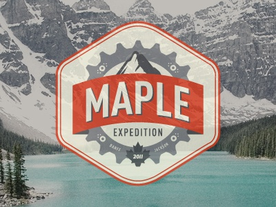Maple Expedition logo bicycles canada banff jackson mountain badge travel bike gears leaf maple