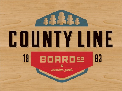 County Line Boardo Bello logo skateboard type retro wood