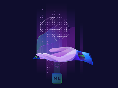 Artificial Intelligence and Machine learning ui webdesign brain artificialintelligence machinelearning technology vector 2d art illustration