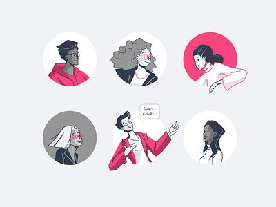 Avatar icon set character avatar member social woman man face flat vector illustration
