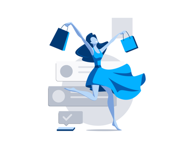 On-line shopping App screen welcome screen limited palette woman flat illustration ui mobile app girl character characterdesign vector 2d art illustration