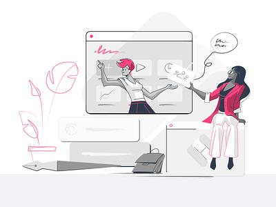 Talk Management webdesign flat illustration ui girl character characterdesign 2d art vector illustration