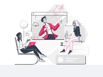 Online conferece limited palette lineart speaker online meeting conference online marketing webdesign flat illustration girl character characterdesign 2d art vector illustration