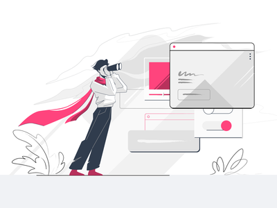Website Builder searching looking for website builder texture branding limited palette flat illustration characterdesign 2d art vector illustration