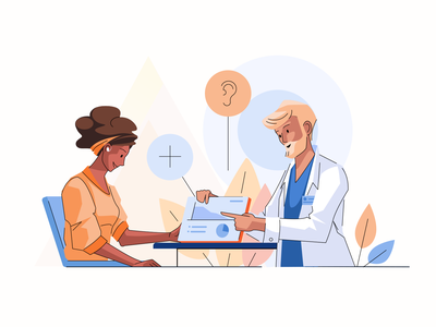Clinical Care hearing aid appointment clinic webdesign flat illustration girl character characterdesign 2d art vector illustration