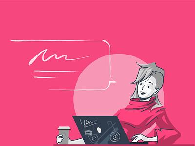 Me The Illustrator work process pink webdesign girl character flat illustration characterdesign vector 2d art illustration