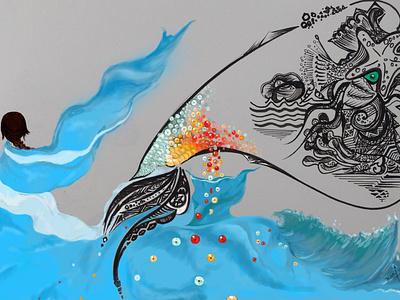 SeAquins sequins digital illustration ocean mixedmedia digital painting