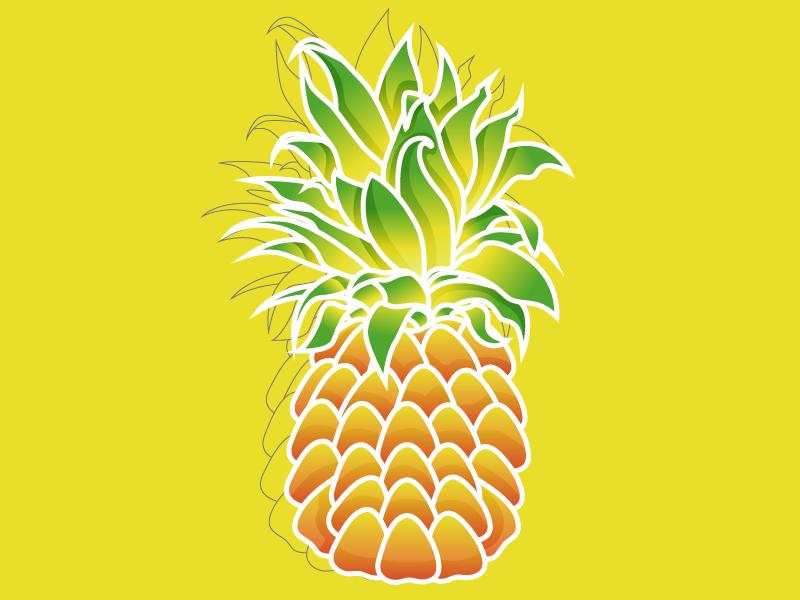 Pineapple illustrator design cartoon ai 2d art vector illustration pineapple