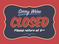 "Retro ""Closed"" Shop Sign Template"