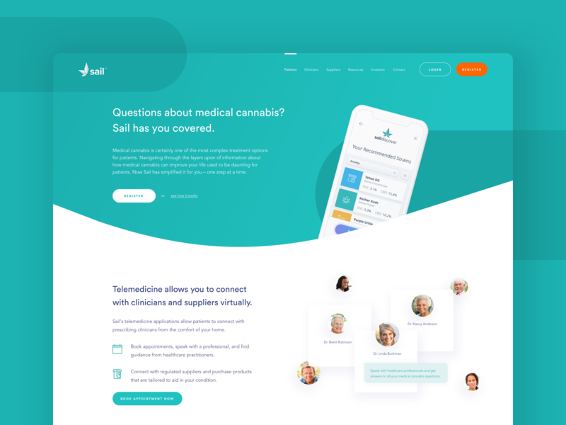 Sail - Landing Page medical marketing branding ux ui website web design landing page