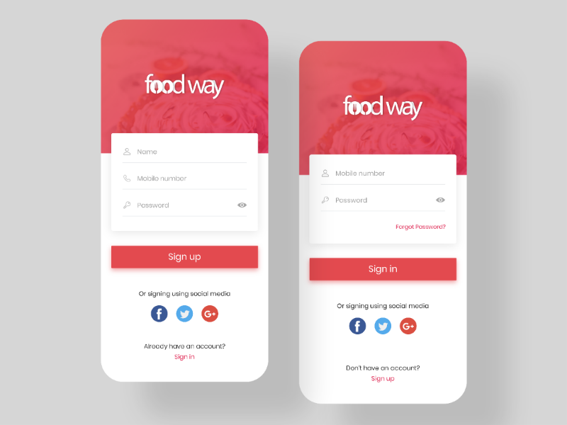 Foodway Login & Signup android apple interface minimal mobile application app foodapp designinspiration app design graphicdesign uiinspiration signup login dailyui mockups graphicsdesigner graphics ux ui