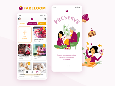 Fareloom - Cooking and creating recipes Mobile App preparation food digital illustrations mobile illustrations mobile design product design fareloom interface design cookbook app cooking illustrations bakery food app cooking app baking app