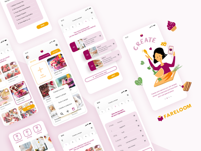 Fareloom - Cooking and creating recipes Mobile App uiuxdesign fareloom mobile interface mobile design baking mobile mobile app softwarehouse cooking logo cooking baking baking app cooking app food app food illustrations food product design
