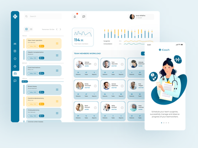 iCoach - Medical App to manage your team and their tasks. medical management medicare health public health app ipad app digitaldrawing illustration medical illustration surgery telehealth software telehealth digital health healthapp uiux digitalhealth healthcare