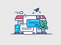 Web & Mobile App House (Custom vector graphics)