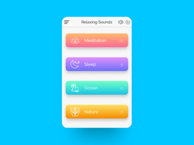 Relaxing Sounds App UI Design