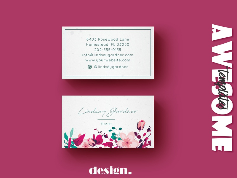 Floral Business Card Template business card floral design floral modern identity card logo typography businesscard business branding template elegant design creative