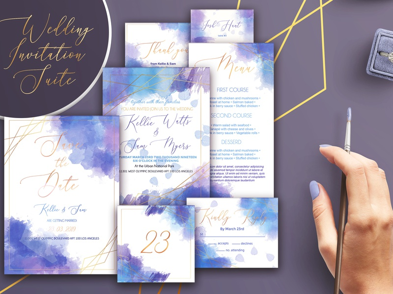 Watercolor Wedding Invitation Suite watercolor invitation design invitation wedding card wedding template elegant design creative