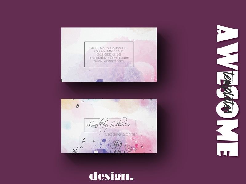Floral Wedding Business Card Template business card wedding card floral wedding floral wedding branding template elegant design creative