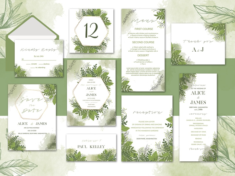 Olive Wedding Invitation Suite branding template elegant wedding card leaves watercolor wedding watercolor olive wedding set invitation wedding