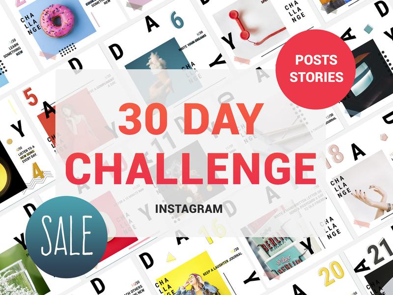 30 Day Challenge Instagram Posts & Stories instagram design stories posting post 30 day challenge 30 days challenge template instagram