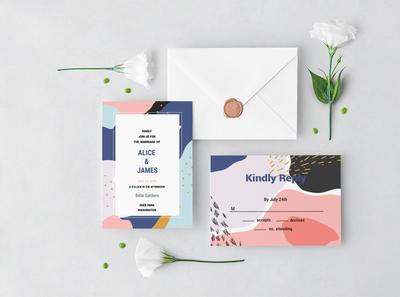 Memphis Wedding Invitation Set