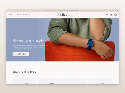 hadley site design ecommerce shopify ux design ux ui motion web design ui design ui
