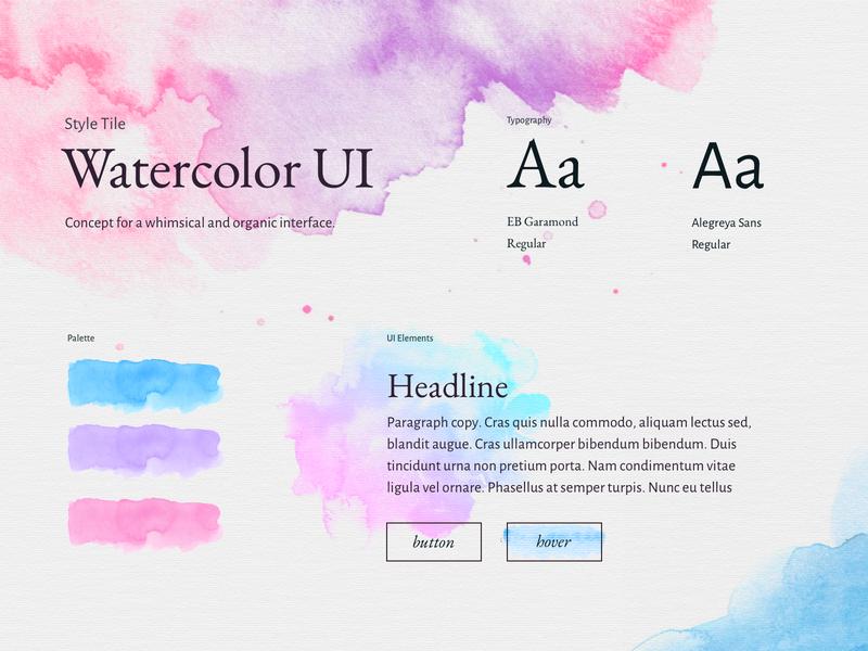 Watercolor UI Style Tile web design ui design design ui