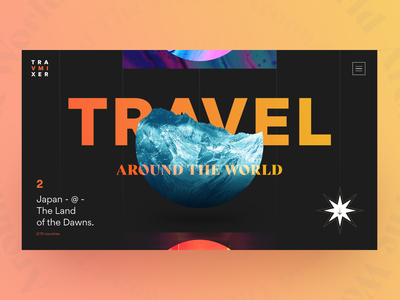 Travmixer - travel agency colorful 3d brutal around the world japan mountain earth travel agency traveling travel page landing fullpage promo website web concept ui matid design