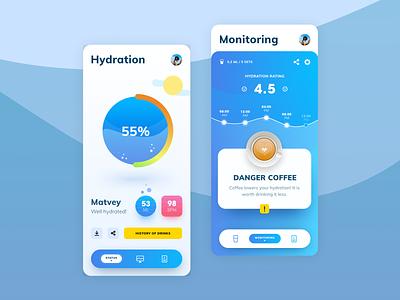 Gidrolife app concept service health status status monitoring mobile app design gidro water color healthcare health coffee gidration mobile ui mobile app app mobile concept ui matid design