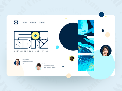Foundry agency composition art foundation founders colorful bubbles agency designers liquid colors page landing fullpage promo website web concept ui matid design