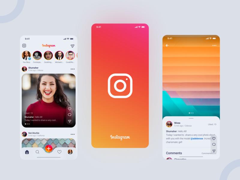 Instagram Redesign application instagram post post feed redesign instagram mobile design mobile app mobile app concept ui matid design