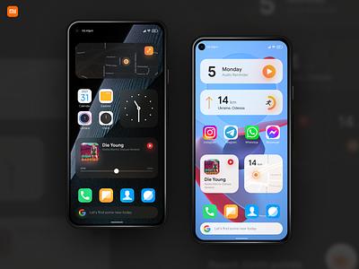 MIUI 12+ widgets concept glassmorphism mobile app design mobile design mobile app xiaomi uxui mobile ui ux miui android os widgets widget mobile concept ui matid design