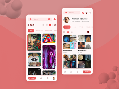 Pinterest Redesign Concept browse search featured saved new brand red design matid concept profile feed art ui redesign pinterest mobile app app mobile mobile design
