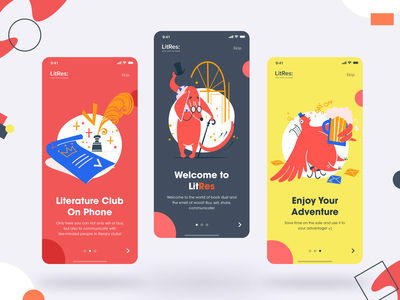 LitRes Redesign Concept: Onboarding minimal concept art colorful colors onboarding screens onboarding ui onboarding mobile app design mobile design mobile app mobile ui mobile ui matid design